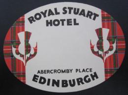 HOTEL ROYAL STUART ABERCROMBY PLACE EDINBURGH SCOTLAND LUGGAGE LABEL ETIQUETTE AUFKLEBER DECAL STICKER - Etiketten Van Hotels