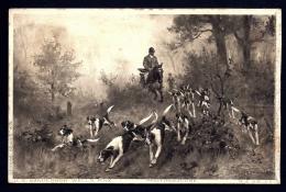 CPA ANCIENNE FRANCE-CHASSE A COURRE AVEC MEUTE- POURSUITE DU GIBIER EN FORET- CHEVAL ET CHIENS- - Jagd