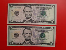 2 Billets De 5 Dollars LINCOLN 2013 CLEVELAND Neufs Consecutifs - Federal Reserve Notes (1928-...)