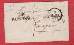 Lettre  / Départ  Rennes  / 6 Mars 1829 - Postmark Collection (Covers)