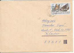 Czechoslovakia Cover 11-12-1989 Single Stamped Butterfly Stamp - Czechoslovakia