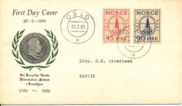 Norway FDC 26-2-1960 ROYAL SOCIETY OF SCIENCE Complete Set With Cachet Sent To Narvik - FDC