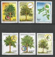 Congo 2005 Moringa Tree Bark Fruit Root Leaves Flowers Pod Mint Set - Kongo - Brazzaville