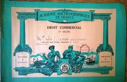 Droit Commercial 1er Degré Académie Dactylographique De France 1961 - Diplômes & Bulletins Scolaires
