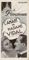 Programme Du Cinéma Le Paramount (Paris) 01/10/1936 Film L'amant De Mme Vidal (Elvire Popesco) - Programmi