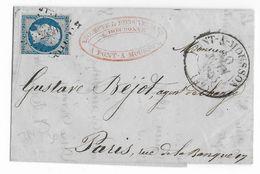 1855 - LETTRE De PONT à MOUSSON (MEURTHE ET MOSELLE) PC 2490 + T13 - IND 14 => PARIS - 1849-1876: Periodo Classico