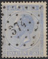 N°18 Obl Pt N°374 (Verviers) - 1865-1866 Profile Left