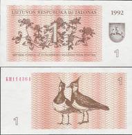 Lithuania 1992 - 1 Talonas - Pick 39 UNC - Lituanie