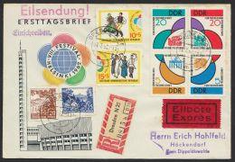 """Mi-Nr. 901/6, """"Weltfestspiele 1962"""", Mit Zusatzfr. Auf R-Eilboten Mit Ankunft - DDR"""