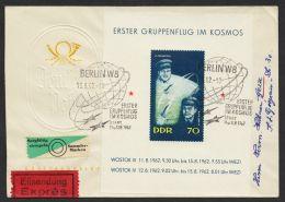 """Mi-Nr. Block 17, """"Weltraum-Gruppenflug"""", Eilboten-FDC Mit übergehendem Sst - FDC: Briefe"""