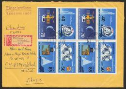"""Mi-Nr. 3005/8, """"Weltraumflug 1986 2mal 4erBlock Als Sehr Seltene MeF Auf R-Eilboten In Die Schweiz - DDR"""