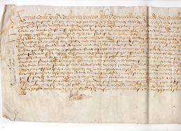 1600 - Beau Parchemin Manuscrit Sur Peau (48 X 19 Cm) - Plié Pour Archives - Manuscripts