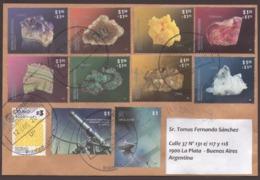 Argentina - 2018-Lettre - Minéraux - Amastist - Agata - Sulphur - Rhodochrosite - Flourite - Malachite - Pyrite - Quartz - Lettres & Documents