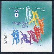 HUNGARY 1983 Winter Olympics, Sarajevo Imperforate Block MNH / **.  Michel Block 169B - Blocks & Sheetlets