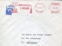 30574 France, Red Meter/freistempel/ema/ Bordeaux 1966 Film Movie Cinema ,don Camillo A Moscou Fernandel, Gino Cervi, - Circo
