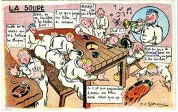 1936 Cp Militaria Humour La Soupe Beauvais Juillet 1936 Gueures - Humour