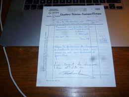 FF5 Document Commercial  Facture Gimm Chantiers Et Scieries De Fontaine L'Evêque - 1950 - ...
