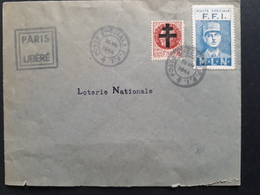 France  - 1944 - Lettre Paris Libéré - Vignette FFI - Libération