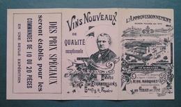 Publicité Pour L'APPROVISIONNEMENT Magasin à LE GRAU DU ROI GARD Tarifs Vins PH. MARQUET 1906 - Alcohols