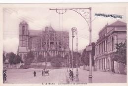 LE MANS - Sarthe - Le Théâtre Et La Cathédrale - CPA - - Le Mans