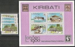 Kiribati,  Scott 2018 # 352-355a,  Issued 1980,  Set Of 4 + S/S Of 4,  MNH,  Cat $ 1.75,  Ships - Kiribati (1979-...)