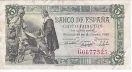 BILLETE DE ESPAÑA DE 5 PTAS DEL 15/06/1945 SERIE G CALIDAD MBC (VF)  (BANKNOTE) - [ 3] 1936-1975 : Régence De Franco