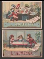2 CHROMOS - Grammaire - L'Adjectif Et L'adverbe - Lith. Courbe-Rouzet (CR3-4-24) - 112x76 Mm - Chromos