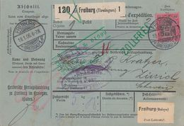 DR Paketkarte EF Minr.77 Freiburg 19.1.06 Perfin H  Herdersche Verlagshandlung Gel. In Schweiz - Deutschland
