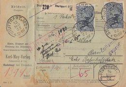 DR Paketkarte Mif Minr.153,163,6x 176,2x 194 Stuttgart 13.5.22 Gel. In Schweiz - Deutschland