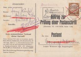DR Karte Antrag Zur Prüfung Einer Postanschrift EF Minr.513 Dresden 21.6.39 - Deutschland
