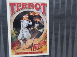 TI - CARTE PUBLICITAIRE - REPRODUCTION D'AFFICHE  - Terrot Cycles Automobiles - Dijon - Publicidad