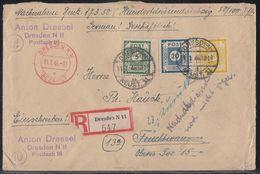 SBZ R-NN-Brief Mif Minr.54,55,57 Dresden 11.1.46 Zurück Nachsendedienst Noch Nicht Möglich - Sowjetische Zone (SBZ)