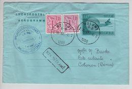 Entier Aérogrammes 22 F + TP C.Woluwé 16/3/87 1er Vol BXL-Cotonou Sabena V.Bénin En Poste Restante 1567 - Luftpost