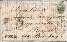 HAMPSTEAD VIA WHITESTONE  ENVELOPPE CIRCULEE TO BOMBAY PUNJAB INDIA YEAR 1855 FULL CONTENT INSIDE SUPERBE - Briefe U. Dokumente