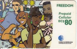 CARIBBEAN ISLANDS - People On Phone, Cable & Wireless Prepaid Card EC$80, CN : 1202, Used - Telefonkarten
