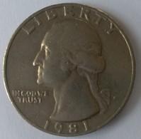 QUARTER  DOLLAR - 1981 - Washington - - 1932-1998: Washington