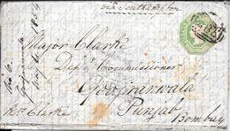 WHITESTONE DEVON EXETER  ENVELOPPE CIRCULEE TO BOMBAY PUNJAB INDIA YEAR 1854 FULL CONTENT INSIDE SUPERBE - Briefe U. Dokumente