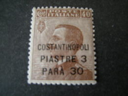 COSTANTINOPOLI - 1922, Sass. N. 44, Soprst.. Costantinopoli, Pi. 3,30 Su Cent. 40, MNH**. OCCASIONE - Uffici D'Europa E D'Asia