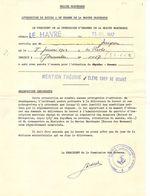 Marine Marchande -Attestation Dilôme Elève Chef De Quart (cachet Inspection Générale De L'enseignement Maritime)le-HAVRE - Diplômes & Bulletins Scolaires