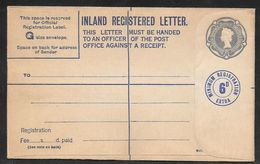 Great Britain - 8 1/2d  Inland Registered Stationery Envelope Uprated - G Size - Unused - Entiers Postaux
