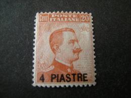 COSTANTINOPOLI - 1921-22, Sass. N. 30, Pi. 4 Su Cent. 20 Arancio, MLH* Firmato Caffaz . OCCASIONE - 11. Uffici Postali All'estero