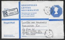 Great Britain - £1.15 1/2p Registered Stationery Evelope G Size - Used Spring Gardens Stockport 1983 - Entiers Postaux