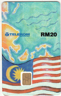 MALAYSIA - World Map(puzzle 4/6), GCA(Global Chipcard Alliance)/Telekom Malaysia Telecard RM20, Tirage 6000, 10/97, Mint - Malaysia