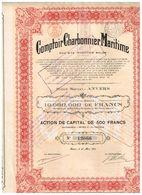 Action Ancienne - Comptoir Charbonnier Maritime - Titre De 1922 - - Industrie