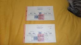 LOT DE 2 TICKETS DE 1951. / PASSENGER TICKET ISSUED BY EL AL. / ISRAEL NATIONAL AIRLINES LTD. / CACHET + TIMBRES FISCAUX - Biglietti