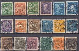 SVEZIA - SVERIGE - 1920/1924 - Lotto 18 Valori Obliterati (vedere Descrizione Completa) - Svezia