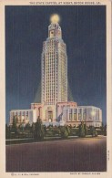Louisiana Baton Rouge The State Capitol At Night 1941 Curteich - Baton Rouge