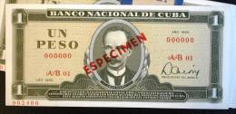 Exelente SPECIMEN 1980, Un Peso, UNC. Cuba Revolucionaria - Cuba