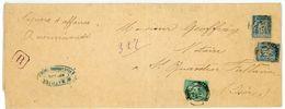 RHONE BANDE PAPIERS AFFAIRES 1894 VILLEURBANNE TARIF PAPIER D'AFFAIRE RECOMMANDE - Marcophilie (Lettres)