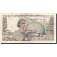 France, 10,000 Francs, 1950-02-09, KM:132b, TB+, Fayette:50.30 - 10 000 F 1945-1956 ''Génie Français''